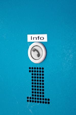 recibo: INFO - Información botón para llamar ayudar u obtener información confiable en el camino, servicio, etc Foto de archivo