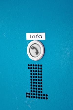 obtain: INFO - Information button for calling help or obtain trustworthy information on road, service, etc. Stock Photo