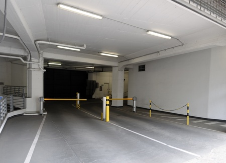 Entrance ramp to underground parking garage