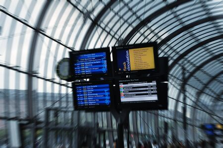 Digital schedule board at railway station, focus on board Stock Photo - 18951978