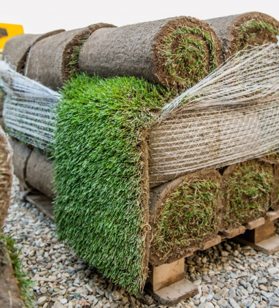 New green turf grass rolls stacked in a pile on wooden pallets ready to be used in a city, park, stadium, sport arena or in a formal garden Stock Photo