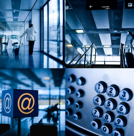 Mix of composed modern airport communication themed images.