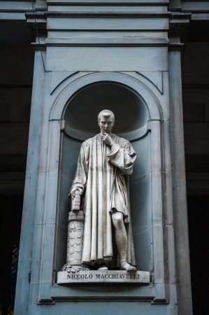 humanist: Statue of Nicollo Macchiavelli, the famous Italian  historian, politician, diplomat, philosopher, humanist and writer in Uffizi Gallery, Florence, Italy
