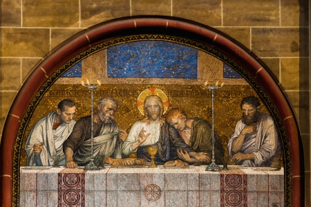 disciples: Last Supper of Christ mosaic outside a catholic church in Germany Editorial