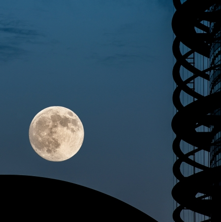 The rare supermoon over European Parliament building in Strasbourg, France photo