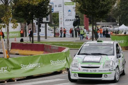 laurent: STRASBOURG, FRANCE - OCTOBER 03: Laurent Bonnard of France compete in Citroën C2 R2 during Super Special Stage 1 of the WRC France on October 3, 2013 in Strasbourg, France.