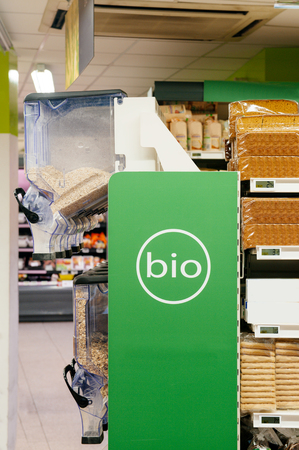 merchandise: Organic food  bio  aisle displayed in a modern supermarket  Breakfast cereals and bread for a healthy eating