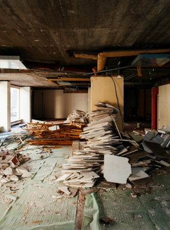 Large interior of a office store under renovating process