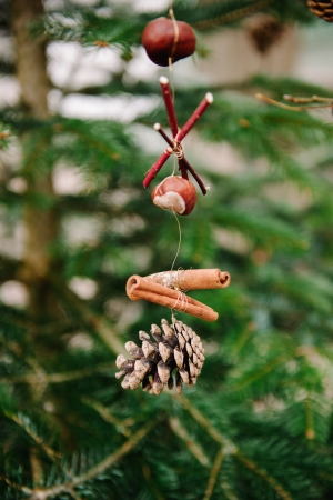 Traditional hand crafted Christmas decoration from natural fruits and wood photo