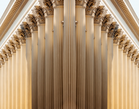 Succesion of pillars in majestic and futuristic perspective