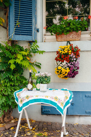 Beautiful table out of a house in a village in Germany photo