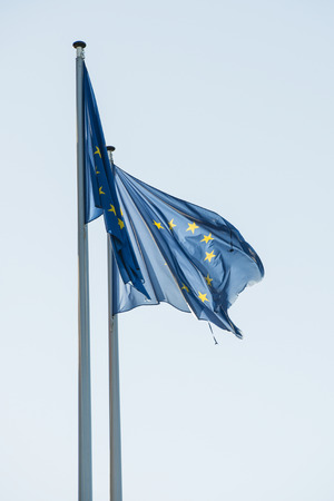 EU flags in front of the European Parliament headquarters in Strasbourg, France photo