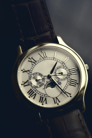 Luxury hand watch with leather wrist