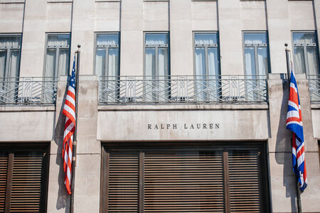 LONDON, UNITED KINGDOM - August 28, 2013: Ralph Lauren flagship store facade on New Bond Street in London on August 28, 2013. Ralph Lauren became the first American designer with a European boutique 1981 in London, IK