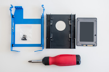 ssd: SSD disk  solid state drive  instalation kit for a faster computer as seen from above Stock Photo