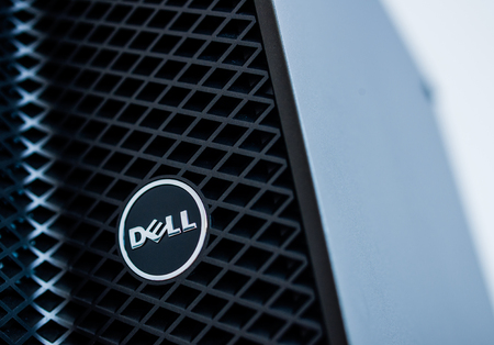 configured: LONDON, UNITED KINGDOM - JUNE 30, 2014: Dell Computers logo on a 2014 server line, as seen on june 30, 2014. Dell server machines come configured as tower, rack-mounted, or blade servers