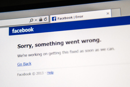 LONDON, UNITED KINGDOM - JUNE 19, 2014: Facebook social network webpage showing text Sorry, something went wrong as a worldwide crash happened to millions of users on Thursday June 19 2014 in the morning.. The site was not working for about 20 minutes,