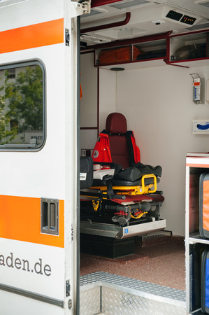 heathcare: BADEN, GERMANY - May 3, 2012  Interior of an empty emergency german ambulance Emergency Medical Service - German Red Cross - 112  This service is primarily financed by the German health insurance companies  Editorial