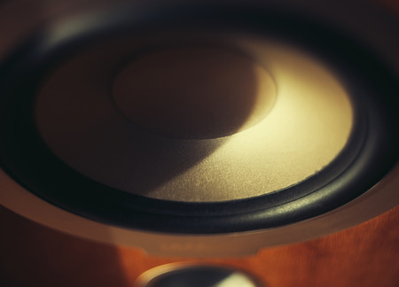 high end: High End wooden loudspeaker in studio as seen from above Stock Photo