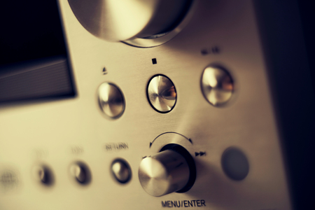 hifi: Hi-Fi Stereo Amplifier shiny buttons - Menu Enter, Volume, Play, Forward, Tune, Equalizer