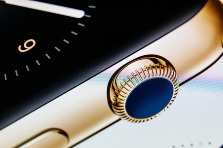 apple computers: PARIS, FRANCE - September 10, 2014: Apple Computers website with the newly launched luxury golden Apple Watch Edition wearable technologies as seen on 10 September, 2014 Editorial