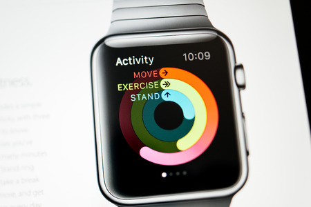 PARIS, FRANCE - September 10, 2014: Apple Computers website close up details seen on iPad with the newly launched Apple Watch wearable technologies as seen on 10 September, 2014. Activity App provides a simple and powerful grafic of the daily activity
