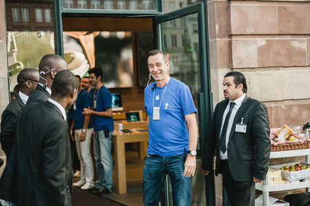 manufacturer: STRASBOURG, FRANCE - SEPTEMBER 19, 2014: Apple manager smiling before opening the doors for the cutomers to the companys Place Kleber store for the sales launch of the iPhone 6 and iPhone 6 Plus in France, on Friday, September 19, 2014.