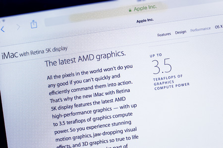 retina display: PARIS, FRANCE - 17 OCTOBER 2014: Photo of Apple iPad tablet with apple.com webpage of the new iMac 5k showing its AMD video card specs. Apple unveiled the new iMac with 5K Retina display on 16 October