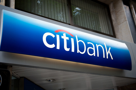 subprime mortgage crisis: MADIRD, SPAIN - JUNE 14: Citibank headquarter signage in Madrid, Spain. Citibank is the consumer division of financial services multinational Citigroup and is present in Spain since 1983 Editorial