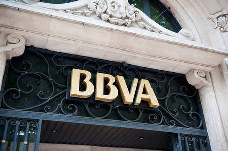 vizcaya: MADIRD, SPAIN - JUNE 14: BBVA Banco Bilbao Vizcaya Argentaria headquarter signage in Madrid, Spain. BBVA is a multinational Spanish banking group. It was formed from a merger of Banco Bilbao Vizcaya and Argentaria in 1999, and is the second biggest bank i
