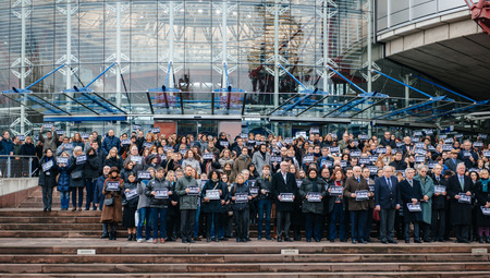 STRASBOURG, FRANCE - 8 JAN 2015: European Court of Human Rights President Dean Spielmann and Registrar Erik Fribergh, Judges and jurists observe a minute of silence in Strasbourg for the victims of an attack by armed gunmen on the offices of French satiri Editorial