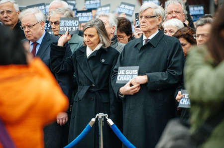 STRASBOURG, FRANCE - JANUARY 09, 2015: Thorbjorn Jagland - Secretary General of the Council of Europe and COE employees attend to a silent vigil to condemn the gun attack at French satirical magazine Charlie Hebdo office in Paris, which killed 12 people o