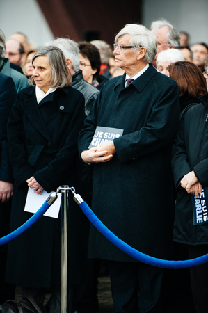 STRASBOURG, FRANCE - JANUARY 09, 2015: Council of Europe employees and Thorbjorn Jagland - Secretary General of the CE attend to a silent vigil to condemn the gun attack at French satirical magazine Charlie Hebdo office in Paris, which killed 12 people on