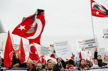 the case before: STRASBOURG, FRANCE - 28 JAN 2015 Turkey diaspora demonstrates near European Court of HR before the Perincek vs. Switzerland case begin. Armenian government was represented by Amal Clooney