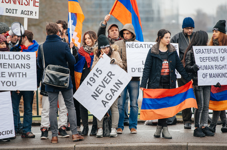 the case before: STRASBOURG, FRANCE - 28 JAN 2015 Armenian diaspora demonstrates near European Court of HR before the Perincek vs. Switzerland case begin. Armenian government was represented by Amal Clooney Editorial