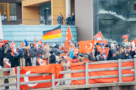 the case before: STRASBOURG, FRANCE - 28 JAN 2015 Armenian and Turkey diaspora demonstrates near European Court of HR before the Perincek vs. Switzerland case begin. Armenian government was represented by Amal Clooney Editorial
