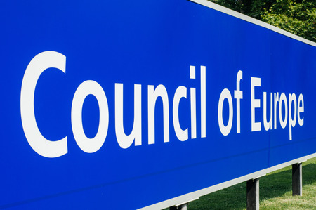 co operation: STRASBOURG, FRANCE - JUNE 29, 2010: Perspective view of Council of Europe main signage in front of the building. The Council of Europe (CoE; French: Conseil de lEurope) is an advisory international organisation promoting co-operation between European cou Editorial