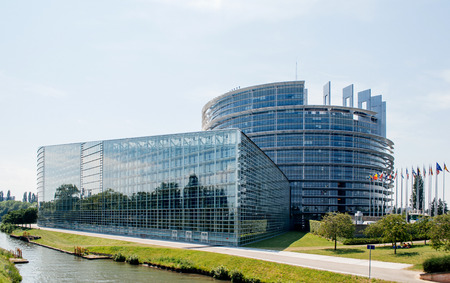 STRASBOURG, FRANCE - JUNE 29: Large facade of the European Parliament in Strasbourg, France on June 29,  2010. The European Parliament (or EU Parliament or the EP) is the directly elected parliamentary institution of the European Union (EU) 新闻类图片