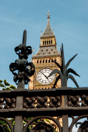 london big ben: London, Big Ben seen throu a decorative fence on a sunny summer day