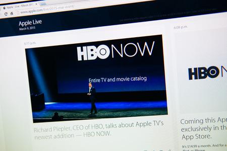 PARIS, FRANCE - MAR 9, 2015: Apple Computers event keynote tweets close up seen on iMac with the newly launched  HBO Now by Tim Cook and Richard Plellper as seen on 9 March, 2015