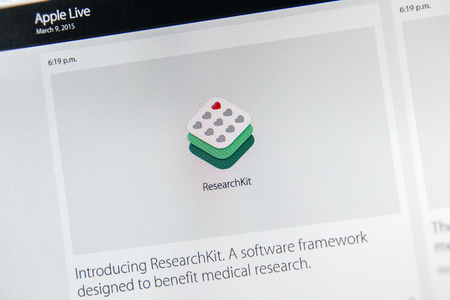 keynote: PARIS, FRANCE - MAR 9, 2015: Apple Computers event keynote tweets close up seen on iMac presenting new ResearchKit - a software framework designed to benefit medical research as seen on 9 March, 2015