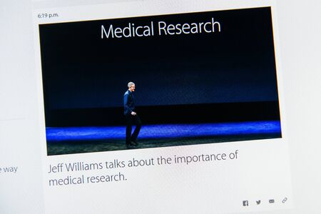keynote: PARIS, FRANCE - MAR 9, 2015: Apple Computers event keynote tweets close up seen on iMac with Jeff Williams  Apple's senior vice president of Operations relating about the importance of medical research on 9 March, 2015 Editorial