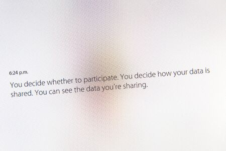 keynote: PARIS, FRANCE - MAR 9, 2015: Apple Computers event keynote tweets close up seen on iMac with you deceide whether to participate and how your data is shared about Health App as seen on 9 March, 2015 Editorial