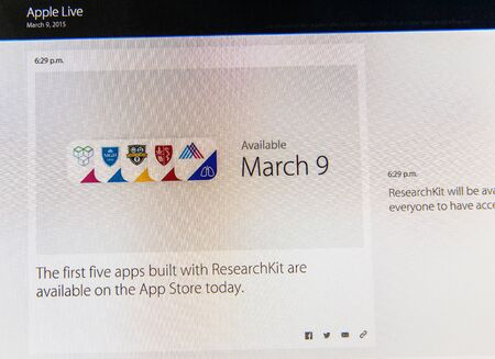 keynote: PARIS, FRANCE - MAR 9, 2015: Apple Computers event keynote tweets close up seen on iMac with the first five App in AppStore built with ResearchKit as seen on 9 March, 2015
