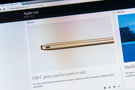 keynote: PARIS, FRANCE - MAR 9, 2015: Apple Computers event keynote tweets close up seen on iMac with the newly launched MacBook featuring new connectivity USB-C givving five ports in one as seen on 9 March, 2015 Editorial
