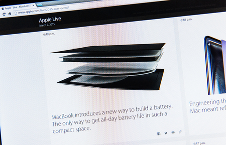 keynote: PARIS, FRANCE - MAR 9, 2015: Apple Computers event keynote tweets close up seen on iMac with the newly launched MacBook and its innovative battery as seen on 9 March, 2015