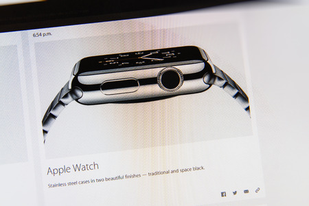 tweets: PARIS, FRANCE - MAR 9, 2015: Apple Computers event keynote tweets close up seen on iMac display with the newly launched Apple Watch stainless steel case color options as seen on 9 March, 2015
