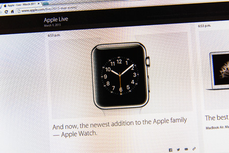 PARIS, FRANCE - MAR 9, 2015: Apple Computers event keynote tweets close up seen on iMac display with the newly launched Apple Watch as seen on 9 March, 2015