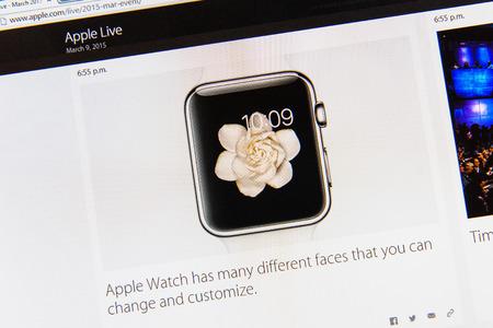 keynote: PARIS, FRANCIA - 09 de marzo 2015: evento Apple Computers tuits magistrales de cerca se ve en pantalla del iMac con muchas caras de Apple Seguir a personalizar como se ve en 09 de marzo 2015