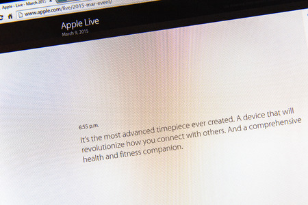 keynote: PARIS, FRANCE - MAR 9, 2015: Apple Computers event keynote tweets close up seen on iMac display with a quote about its sense of revolution as seen on 9 March, 2015